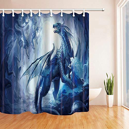 Nyngei Duschvorhang mit Drachen- & Elfenmotiv, 12 Haken, 183 x 183 cm