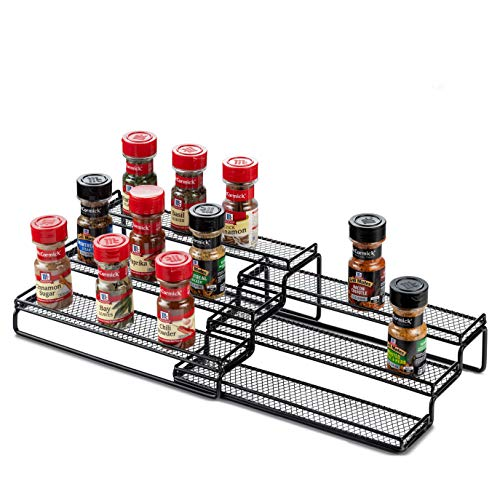 3 Tier Expandable Spice Rack Organizer for Cabinet, Black Modern Pantry Kitchen Countertop Stand 3 Step Shelf - Expands 12 to 24 Inches
