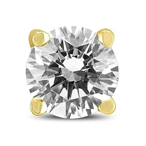 Pendiente de diamante redondo de 1/2 quilate para hombre en oro amarillo de 14 quilates