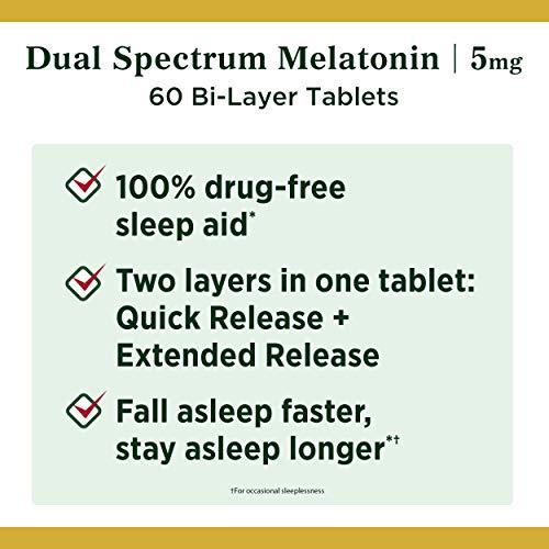 Melatonina de Nature's Bounty, 100% libre de drogas, ayuda para dormir de liberación rápida y liberación prolongada, suplemento dietético, promueve la relajación y la salud del sueño, 5 mg, 60 tabletas de dos capas