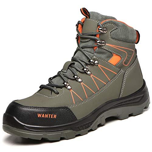 [JUDBF] ハイカット安全靴 スニーカーメンズレディース 冬用作業靴先芯入り軽量 あんぜん靴 半長靴ワーク シューズ 通気性 耐摩耗 防刺耐滑工事現場靴 防水 防寒 アウトドア ハイキングシューズ608Green/42