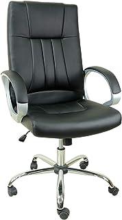 オフィスチェア デスクチェア 肘掛付き 耐荷重150kg パソコンチェア 高さ昇降 ハイバック 椅子 革 チェア 多機能 事務椅子 肉厚クッション OAチェア ブラック SY-8031BK