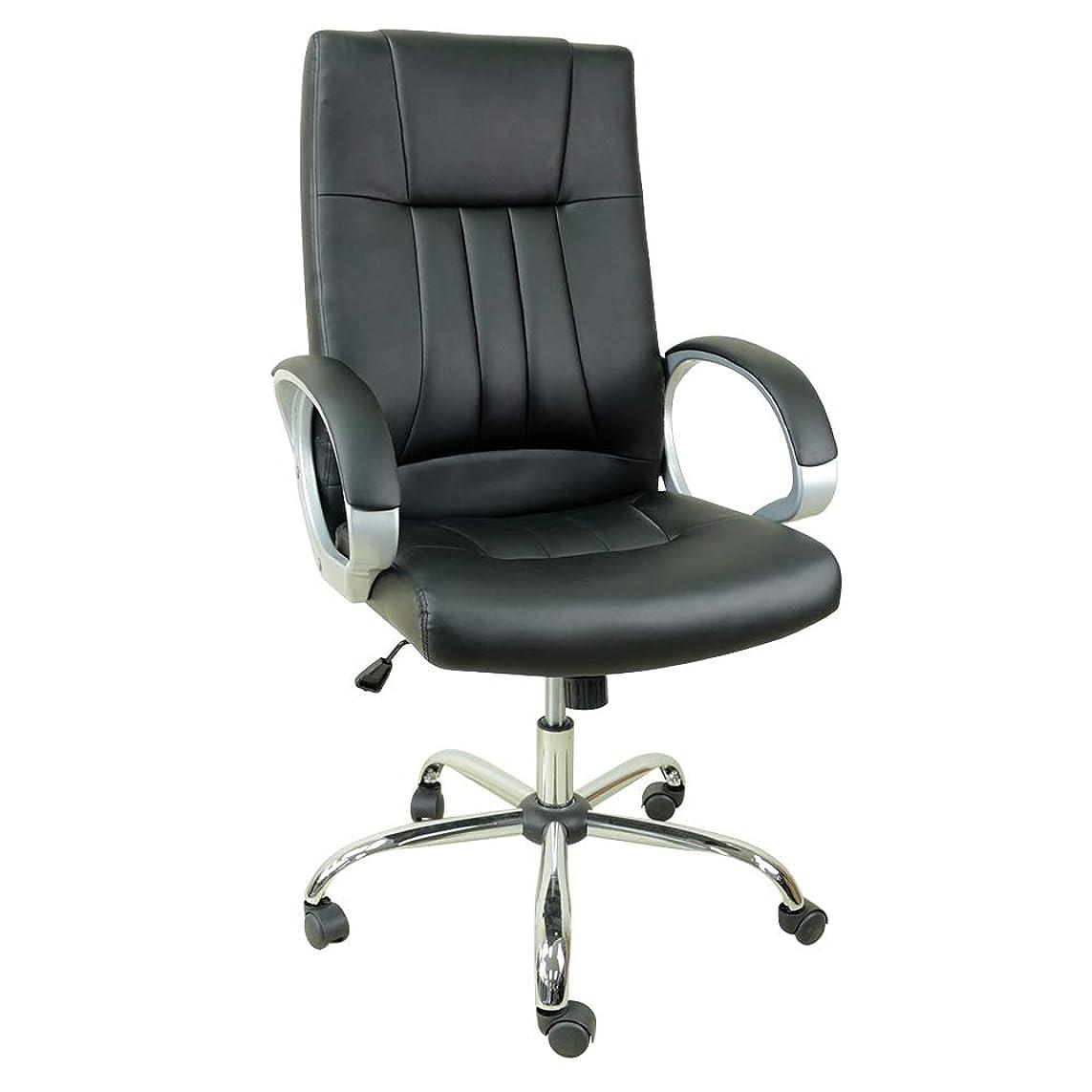 凝縮するショッピングセンターエスニックオフィスチェア デスクチェア 肘掛付き 耐荷重150kg パソコンチェア 高さ昇降 ハイバック 椅子 リクライニング 革 チェア 腰痛対策 多機能 事務椅子 肉厚クッション OAチェア ブラック SY-8031BK