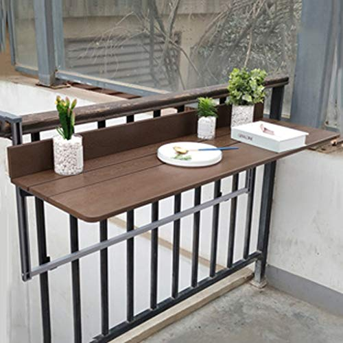 Ailj Wall-Mounted Folding Table, Modern Family Bar Wall Floating Table Balcony Railing Adjustable Hanging Table 100 37 cm Wood Color Brown Wood (Color : Brown, Size : 10037cm)