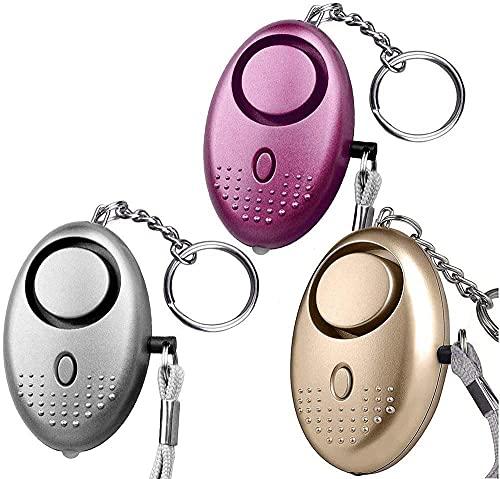 Alarma Personal de Emergencia, 140dB Alto Decibeles Alarma de Llavero con Función de lluminación para Niños Mujeres Ancianos Seguimiento Pánico Seguridad Ataque Protección (3 Packs, Multicolor)