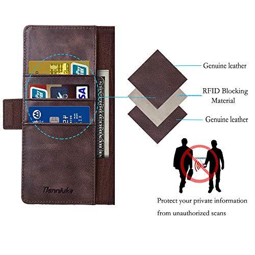 Tianniuke Huawei Mate 30 Pro Hülle, Echt Leder hülle mit Kartenfach Standhülle Flip Schutzhülle, Brieftasche Wallet Handyhülle für Huawei Mate 30 Pro (Schwarz) - 3