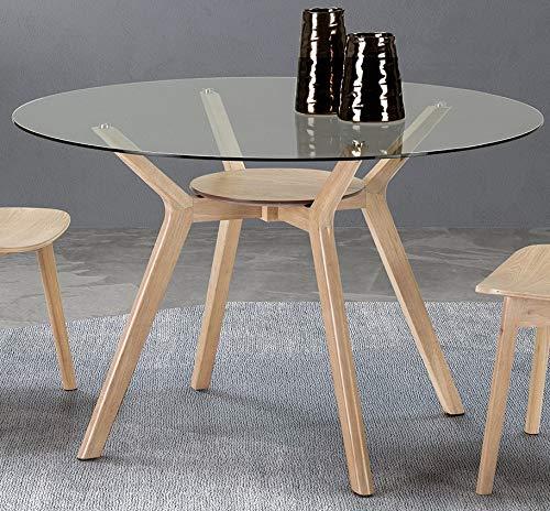 ambiato Esstisch Joel Rund 120cm Rund + Massivholz Hevea Holz Glastisch Konferenztisch Küchentisch Tisch Glas