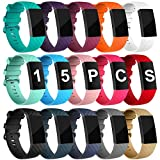 Velavior 15 Colors Bands for Fitbit Charge 3 / Charge3 SE, Waterproof Replacement Wristbands for Women Men Small Large (Large)