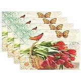 LIANCHENYI rote Tulpen mit Schmetterlingen hitzebeständige Tischsets aus Polyester Tischset für Küche Esszimmer 1 Stück, Polyester, Multi, 12x18x1 in
