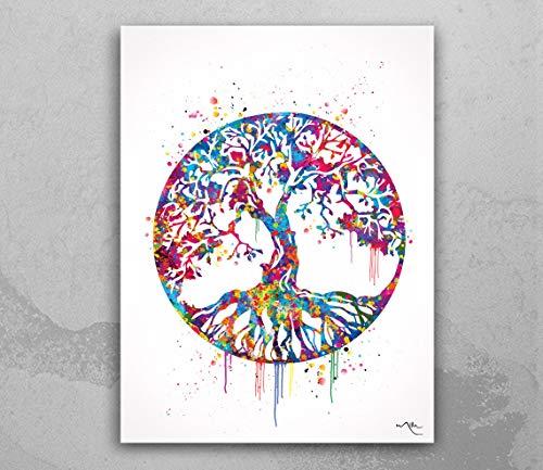 Árbol de la vida impresión de acuarela arte de la pared regalo de boda naturaleza estudio yoga hogar hogar hogar hogar hogar regalo decoración decoración casa casa casa decoración 451