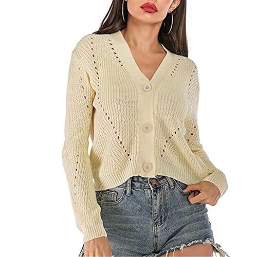 Damska Hollow Cardigan, leniwy styl sweter zewnętrzny dzianina sweter damskie koszule bluzka jesień i żakiet zimowy luźne topy,White,M