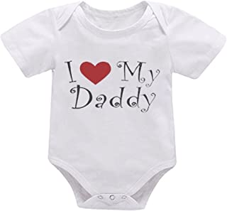 HESHENG Infant Baby Boys Girls Father's Day Clothes Letter Print Romper Short Sleeve Jumpsuit