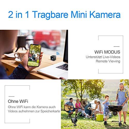 Bluetooth WLAN Mini Kamera,MHDYT HD 1080P WiFi Akku Überwachungskamera, Kleine Nanny Cam mit Bewegungsmelder, Infrarot Nachtsicht und Bluetooth Lautsprecher,Mikro Wireless Innen/Aussen IP Kamera