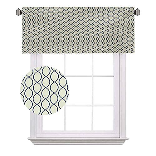 Tenda astratta a mezza finestra, linee curve, forma ellittica, motivo reticolato, adatto per piccole finestre in cucina e bagno, W42 x L12 pollici giallo pallido Navy Blue