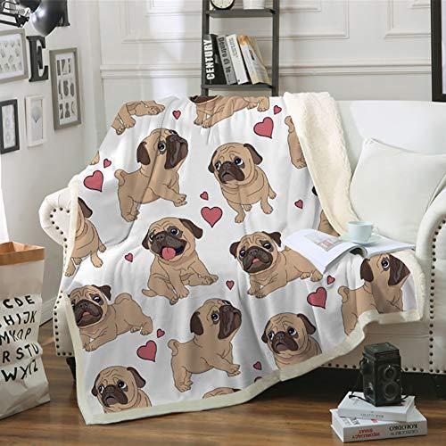 Xiaojie Manta doble gruesa de algodón impresa, manta de forro polar para sofá, manta perezosa, serie de cachorros, 130 x 150 cm