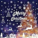 Pegatinas de Navidad BESTZY Copo de Nieve Estática Pegatina Pegatinas de Navidad para Ventanas Adornos Artículos de Fiesta Decoracion Navideña Regalos (9 Hojas)