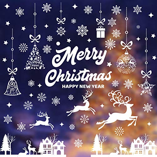 Vetrofanie Fiocchi BESTZY Vetrofanie Renna Fiocchi di Neve per Natale Fai da Te Decorazione Vetrina Sticker Fiocco di Neve Albero di Buon Natale per casa Negozi 9 Fogli