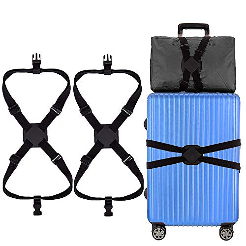 Luggage Straps, 2 Pack Suitcase Straps Heavy Duty Travel Luggage Belt for Travel Business (Black)