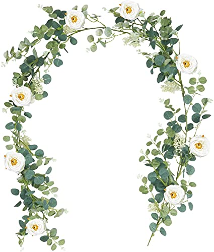 SHACOS Blumengirlande Künstlich Rosengirlanden Weiß Seidenblumen Lang Eukalyptus Girlande Hängende Eukalyptusblätter für Hochzeit Wand Dekor