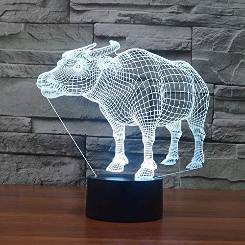 HYY-YY Buffalo - Lámpara 3D con 7 colores táctil LED, luz 3D, regalo de año, ambientación decorativa para escritorio, luz 3D, regalo de año