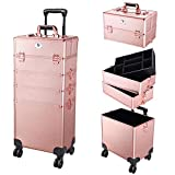 Byootique Rose Gold Rolling Makeup Case 4in1 Cosmetic Lockable Trolley Freelance Makeup Artist Travel Train Case Nail Organizer Box