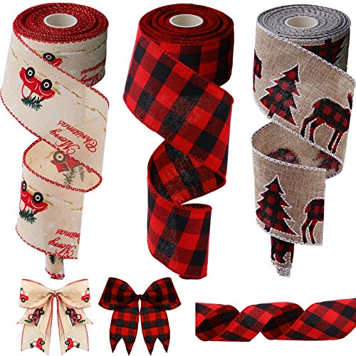 3 Rolls Christmas Wired Edge Ribbons Includes Stag Christmas Tree Ribbon, Black Red Plaid Ribbon and Car Christmas Tree Ribbon, 2.5 Inch x 6 Yard for Each Roll