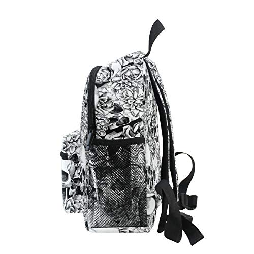 Chic Houses Black and White Design Magic Skull Gothic Flowers School Bag Bookpack Funny Pattern Casual Daypack Kids Elementary Bag Travel Outdoor Backpack for Boys Girls 2030448