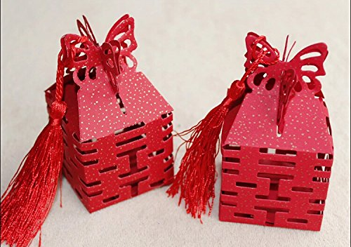 Joinwin® 50pcs New Red Double Happiness Candy Boxes Gift Boxes Wedding Party Favors Box