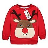 Sudaderas para Niños Navidad ciervos Bebé Camisetas de Manga Larga Niñas Sweatshirt Tops Vine 12 meses