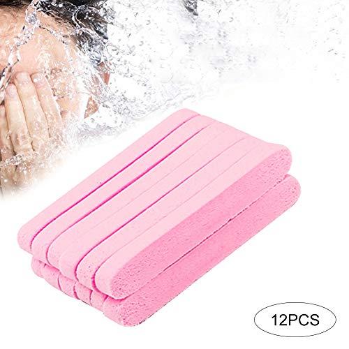 12pcs éponges faciales comprimées Eponge Houpette faciales Rond de Démaquillage Nettoyage Masque Soin - rose