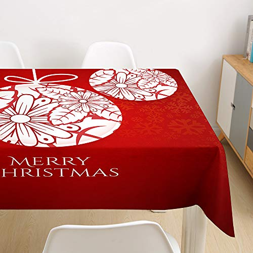 Morbuy Christmas Tablecloths Rectangular Waterproof Table Cloth Wipeable Stain-Resistant Oil-Proof Printed Table Cover for Home Dining Garden Party (Red ball,100x140cm)