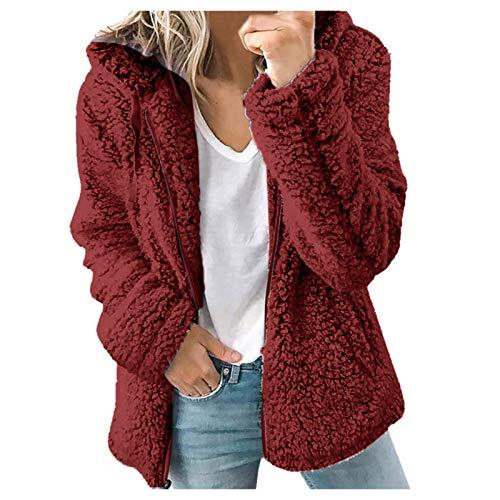 feftops Chaqueta Mujer Abrigo Imitación Cálido de Invierno con Cuello Redondo Ropa Larga Sólida Color Sólido Casual Acogedor Talla Grande