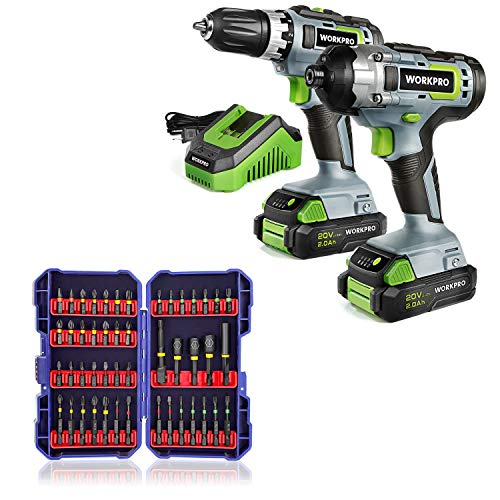 WORKPRO 20V Cordless Drill Combo Kit, Drill Driver and Impact Driver with 47-Piece Impact Bit Set