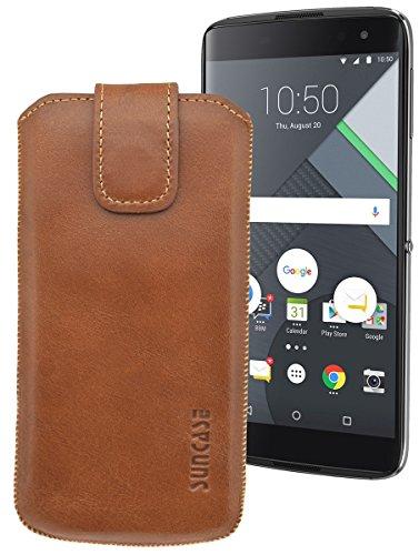 Suncase ECHT Ledertasche Leder Etui für BlackBerry DTEK 60 Tasche (mit Rückzugsfunktion) in cognac