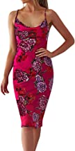 Camisole Sleeveless for Womens Print V Neck Backless Dress Evening Party Floral Dress Beach Cover up Plain Pleated Tank Dress