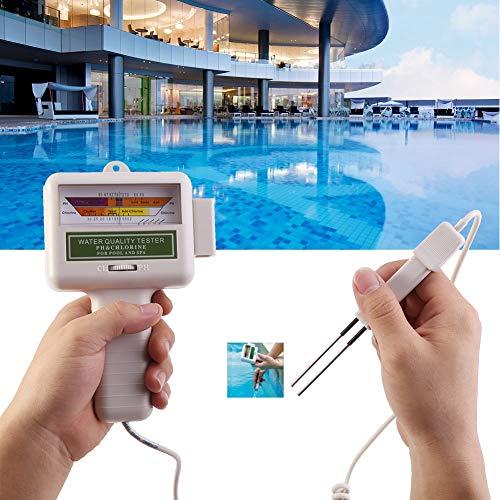 Chlortester, CL2 Chlor Hohe Genauigkeit Wasserprüfgerät Digital PH Messgerät pH Tester Chlor Meter Wasserqualitätstester für Schwimmbädern,Whirlpools usw