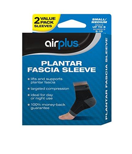 Airplus Plantar Fascia Sleeve, Men's Women's Small Medium, 2 Sleeves (Pack of 2)