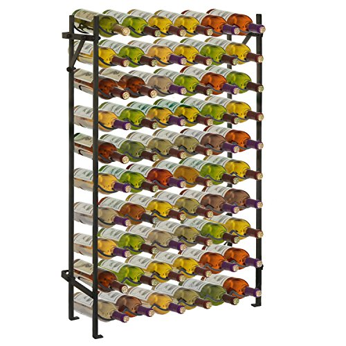 Black Metal 60 Bottle Wine Organizer Rack/Wall Mounted Wine Collection Display Stand
