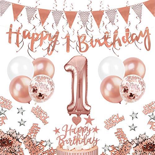 Humairc 1 ans anniversaire ballons décorations filles, or rose 1ans joyeux anniversaire bannière...