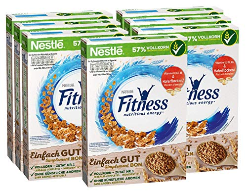 Nestlé FITNESS, Frühstücks-Flakes aus 57% Vollkorn, Frühstücks-Flakes mit weniger Zucker, mit Vitamin B2, B6, Calcium & Eisen, 7er Pack (7 x 375 g)