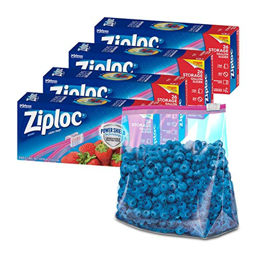 Ziploc Gallon Food Storage Slider Bags, Power Shield Technology for More Durability, 26 Count, Pack of 4 (104 Total Bags)