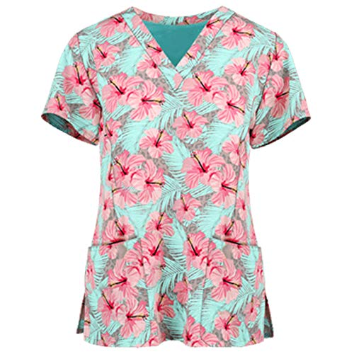 VEMOW Tops de Mujer Uniforme de Trabajo Uniforme Estampado Camisa de Manga Corta Impresión de ECG Blusa con Cuello en V, Trabajo Enfermera Médicas Bolsillo Uniforme SPA Salón de Belleza Ropa
