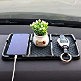 Anti-Slip Car Dash Grip Pad for Cell Phone, Keychains, Sun Glasses,Stand,New Handmade Crystal Rhinestone Mat for Navigation Cell Phone (Black)