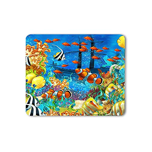 Moslion Fish Mouse Pad Painting Undersea Coral Reef Bubbles Colorful Dive Exploration Ocean Gaming Mouse Mat Non-Slip Rubber Base Thick Mousepad for Laptop Computer PC 9.5x7.9 Inch