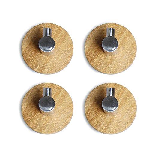 Acxeon 4 Stücke Adhesive Haken mit 3m Haftmittel bis zu 3 Kg Tragkraft, aus SUS304 Edelstahl und Bambus, ideal für Handtuchhaken Wandhaken Kleiderbügel