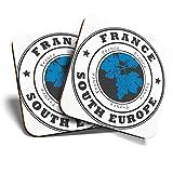 Great Coasters (Set de 2) Posavasos cuadrados/brillantes de calidad para cualquier tipo de mesa, Francia, Europa del Sur, viajes franceses #4526