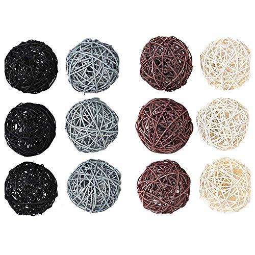 Tuneway - Lote de 12 bolas de ratán grandes para tazones, relleno de jarrón, decoración de mesa de café, decoración de bodas y fiestas