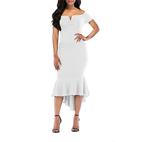 KISSMODA Women s Bodycon Dress Off The Shoulder Mermaid Evening Party Gown 1f8703fbe