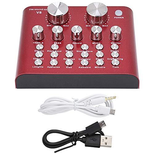 Qkiss Externe geluidskaart v8 USB Laptop PC Live geluidskaart Headset Microfoon Karaoke, met 112 soorten akoestische akoestiek, 18 soorten geluidseffecten, 6 effectmodi