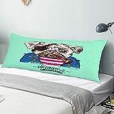 Funda Almohada Cuerpo,Perro Pug Pirata,Funda de Almohada Larga y Suave con Cierre de Cremallera Sofá de Dormitorio Decorativo 20'x 54'